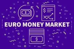 Illustrazione concettuale di affari con l'euro marke dei soldi di parole illustrazione vettoriale