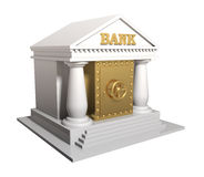 La costruzione di banca con la cassaforte dell'oro, un'illustrazione concettuale Immagine Stock Libera da Diritti