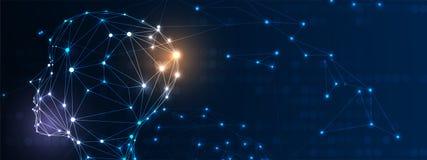 Illustrazione concettuale di tecnologia di intelligenza artificiale Priorità bassa futuristica astratta illustrazione vettoriale