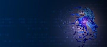 Illustrazione concettuale di tecnologia di intelligenza artificiale immagine stock