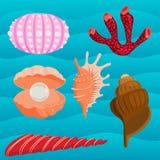 Illustrazione corallina marina di vettore della copertura superiore del fumetto delle conchiglie e delle stelle marine dell'ocean illustrazione di stock