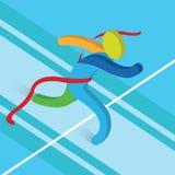 Illustrazione corrente di vettore di atletica dell'icona dell'arrivo Illustrazione Vettoriale