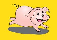 Illustrazione corrente sveglia di vettore del maiale Fotografia Stock Libera da Diritti