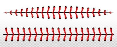 Illustrazione creativa dei punti della palla di baseball di sport, cucitura rossa di vettore del pizzo isolata su fondo trasparen illustrazione di stock