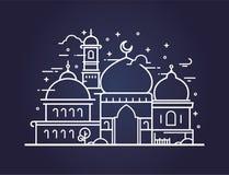 Illustrazione creativa di una moschea nella linea stile Fotografia Stock