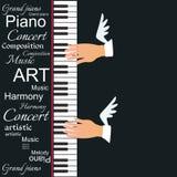 Illustrazione creativa di vettore con una tastiera di piano e le mani alate del musicista isolate su un fondo nero illustrazione di stock