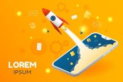 Illustrazione creativa di vettore dell'insegna di partenza di affari o di applicazione con il grafico del telefono illustrazione di stock