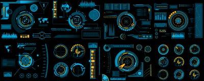 Illustrazione creativa di vettore dell'insieme di elementi dell'interfaccia di HUD, infographics Sci Fi isolato su futuristico tr royalty illustrazione gratis