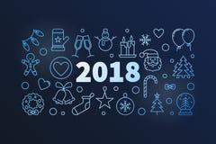 Illustrazione creativa di vettore di 2018 nuovi anni Immagine Stock