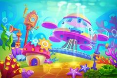 Illustrazione creativa ed arte innovatrice: Base sottomarina subacquea royalty illustrazione gratis