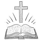 Illustrazione cristiana della traversa e della bibbia Immagine Stock