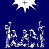 Illustrazione cristiana Scena di natività Buon Natale illustrazione di stock