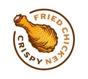 Illustrazione croccante calda di vettore dell'etichetta di Fried Chicken Fotografia Stock Libera da Diritti