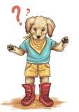 Illustrazione curiosa del cucciolo di golden retriever Immagini Stock