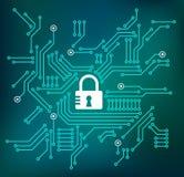 Illustrazione cyber di concetto protezione dei dati/di sicurezza illustrazione di stock