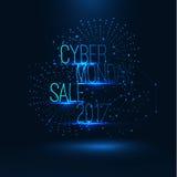 Illustrazione cyber 2017 di vendita di lunedì Grande vendita globale Fotografie Stock Libere da Diritti