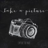 Illustrazione d'annata con la macchina fotografica Fotografia Stock Libera da Diritti