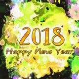 Illustrazione d'annata 2018/dell'acquerello Fotografie Stock