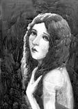 Illustrazione d'annata 1900 dell'acquerello della donna Fotografie Stock Libere da Diritti