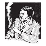 Illustrazione d'annata dell'uomo d'affari Fotografia Stock Libera da Diritti