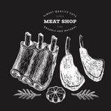 Illustrazione d'annata della carne di vettore sul bordo di gesso Costole, spezie ed erbe disegnate a mano Ingredienti di alimento fotografia stock