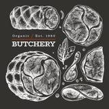 Illustrazione d'annata della carne di vettore sul bordo di gesso Prosciutto, fette del prosciutto, spezie ed erbe disegnati a man fotografia stock libera da diritti
