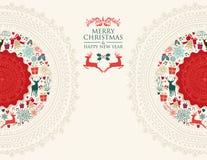 Illustrazione d'annata della cartolina d'auguri di Buon Natale illustrazione di stock