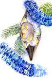 Illustrazione d'annata della decorazione di Natale per la cartolina Fotografia Stock Libera da Diritti