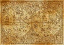 Illustrazione d'annata della mappa antica dell'atlante del mondo su vecchia carta Fotografie Stock Libere da Diritti
