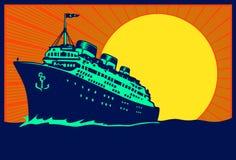 Illustrazione d'annata della nave da crociera del transatlantico del manifesto di viaggio Immagine Stock