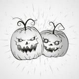 Illustrazione d'annata di Halloween di vettore con le zucche disegnate a mano Fotografie Stock