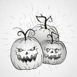 Illustrazione d'annata di Halloween di vettore con le zucche disegnate a mano Immagini Stock