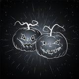 Illustrazione d'annata di Halloween di vettore con le zucche disegnate a mano Fotografia Stock Libera da Diritti