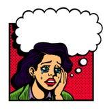 Illustrazione d'annata di Pop art di gridare malato d'amore dal cuore spezzato triste della ragazza Immagini Stock