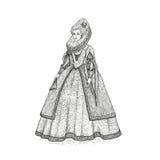 Illustrazione d'annata di schizzo di vettore XVI secolo elisabettiano di epoca della gentildonna Signora medievale in un vestito  Immagine Stock
