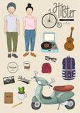 Illustrazione d'annata di stile di vita di modo degli elementi dei pantaloni a vita bassa retro illustrazione vettoriale