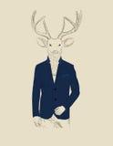 Illustrazione d'annata di un cervo in un vestito Fotografia Stock Libera da Diritti