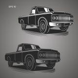 Illustrazione d'annata di vettore del camioncino Automobile dell'americano di Oldschool Fotografie Stock