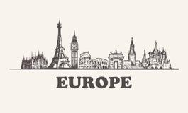 Illustrazione d'annata di vettore dell'orizzonte di Europa, costruzioni disegnate a mano illustrazione di stock