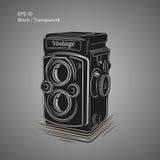 Illustrazione d'annata di vettore della macchina fotografica Icona antica dell'attrezzatura della foto illustrazione di stock