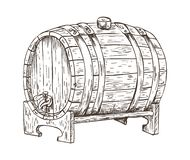 Illustrazione d'annata di vettore di schizzo del barile del barilotto di birra illustrazione di stock
