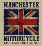 Illustrazione d'annata di vettore sul tema del motorcyc britannico illustrazione di stock