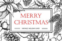 Illustrazione d'annata disegnata a mano di Buon Natale di vettore per natale Fotografie Stock