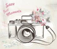 Illustrazione d'annata disegnata a mano sveglia di vettore della macchina fotografica Fotografia Stock
