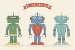 Illustrazione d'annata fresca di vettore dei robot Immagini Stock Libere da Diritti
