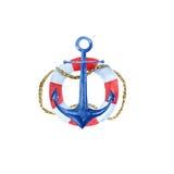 Illustrazione d'annata nautica con un'ancora, salvagente dell'acquerello Fotografia Stock