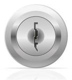Illustrazione d'argento di vettore del buco della serratura del metallo Fotografie Stock Libere da Diritti