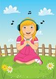 Illustrazione d'ascolto di vettore di musica della ragazza Immagine Stock