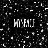 Illustrazione d'avanguardia della galassia di vettore Il mio spazio Arte di scarabocchio Fondo di simbolo del tatuaggio, di astro Immagine Stock