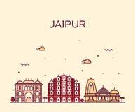 Illustrazione d'avanguardia di vettore dell'orizzonte di Jaipur lineare royalty illustrazione gratis